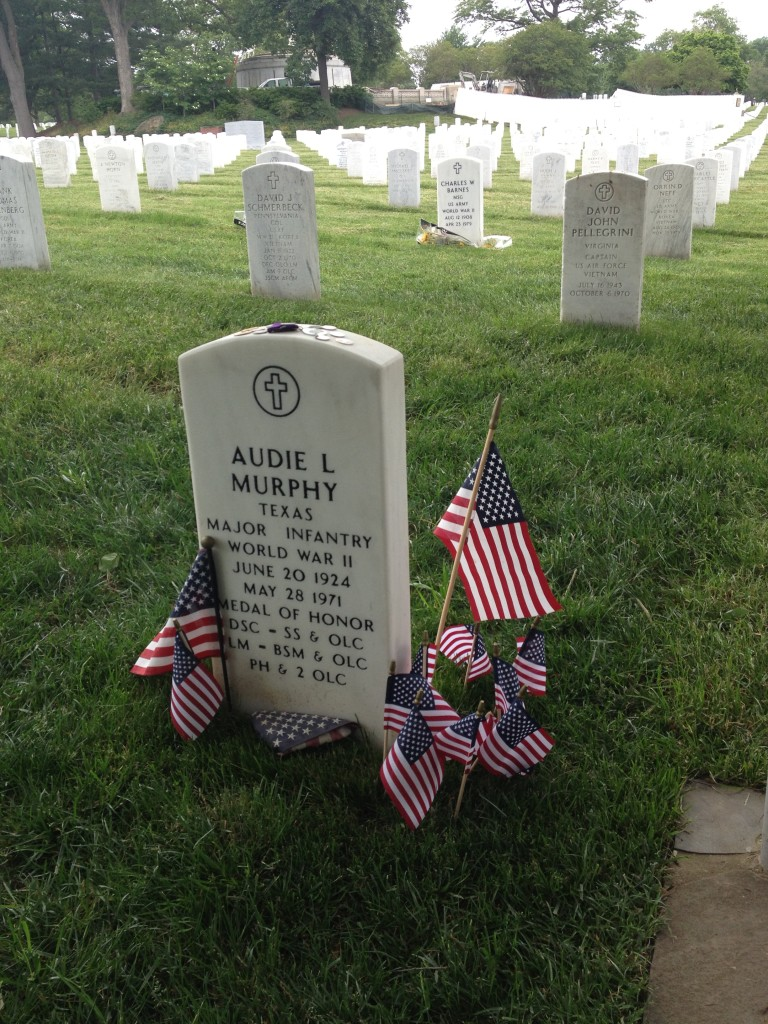 World War II hero Audie Murphy's grave marker is a humble one. Photo credit: L. Tripoli