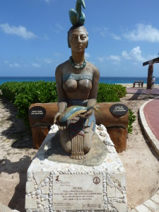 The Goddess Ixchel has overseen a troubled Isla Mujeres, visited by slave traders and pirates in the past. Good that she is the goddess of healing and fertility.  Photo credit: M. Ciavardini