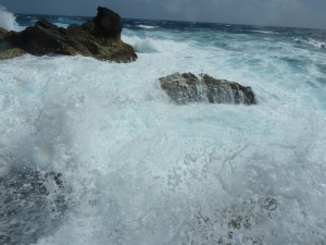 Rough water on Isla Mujeres meant that we would substitute a golf cart for snorkeling that day.  Photo credit: M. Ciavardini