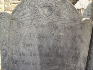 Customs Surveyor Jonathan Pue's headstone outside St. Peter's Episcopal Church in Salem, Mass. Photo credit: L. Tripoli