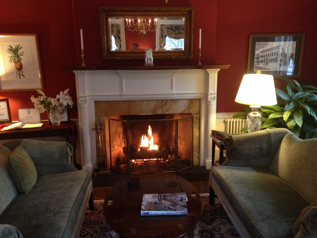 The lounge fireplace in the Harbor Light Inn in Marblehead, Mass. Photo credit: M. Ciavardini