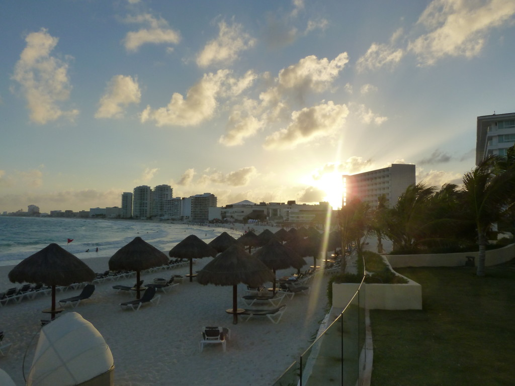 Cancun view of hotels and beach