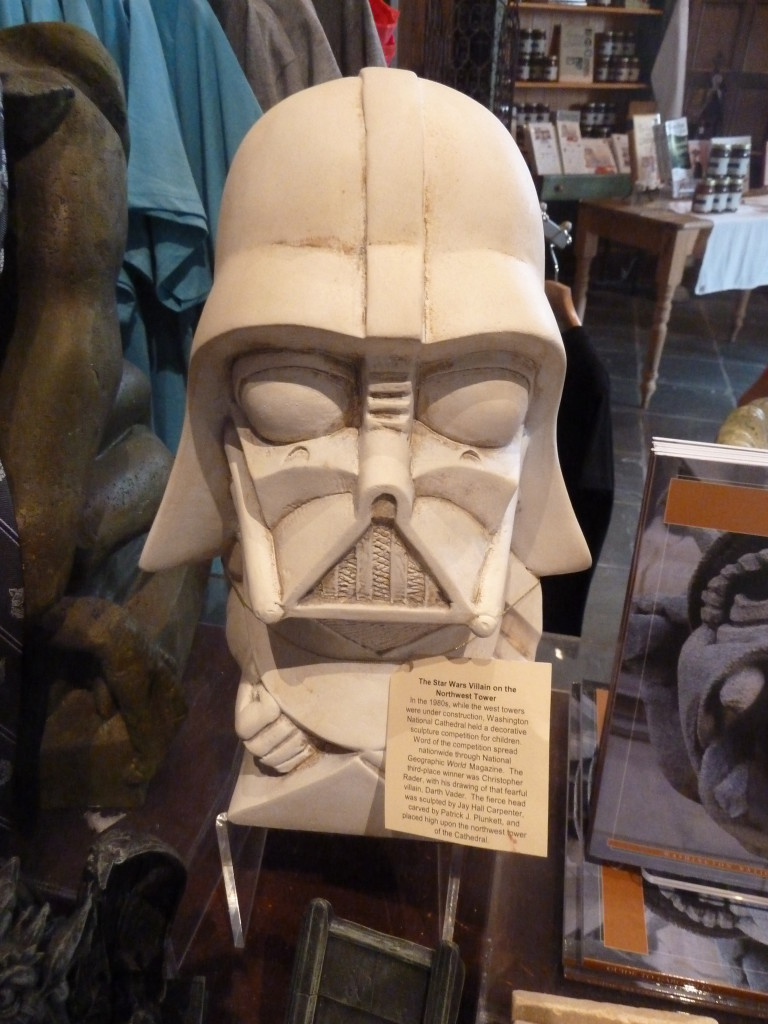 The Darth Vader grotesque at the National Cathedral in Washington, D.C., is difficult to see from the ground. A student's drawing of the Star Wars villain won a competition, and so the Dark Knight was immortalized—on the cathedral and in its gift shop. Photo credit: M. Ciavardini