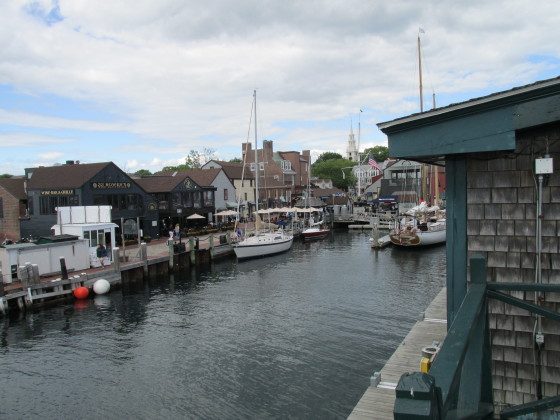 The view inland from the upper deck at Bannister's Wharf, Newport, R.I. Photo credit: M. Ciavardini