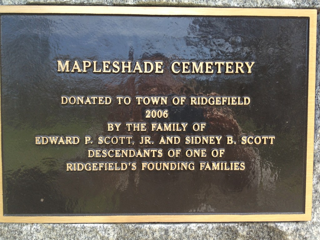 Like the family names Lee/Lees and Northrop/Northrup, the cemetery in Ridgefield is referred to as Maple Shade and Mapleshade. Photo credit: M. Ciavardini