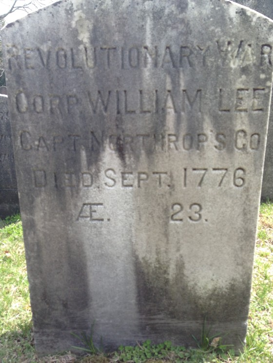 The tombstone of William Lee, who served in the Revolutionary War, and died in September 1776 at the age of 23. Ridgefield, Conn. cemetery. Photo credit: M. Ciavardini