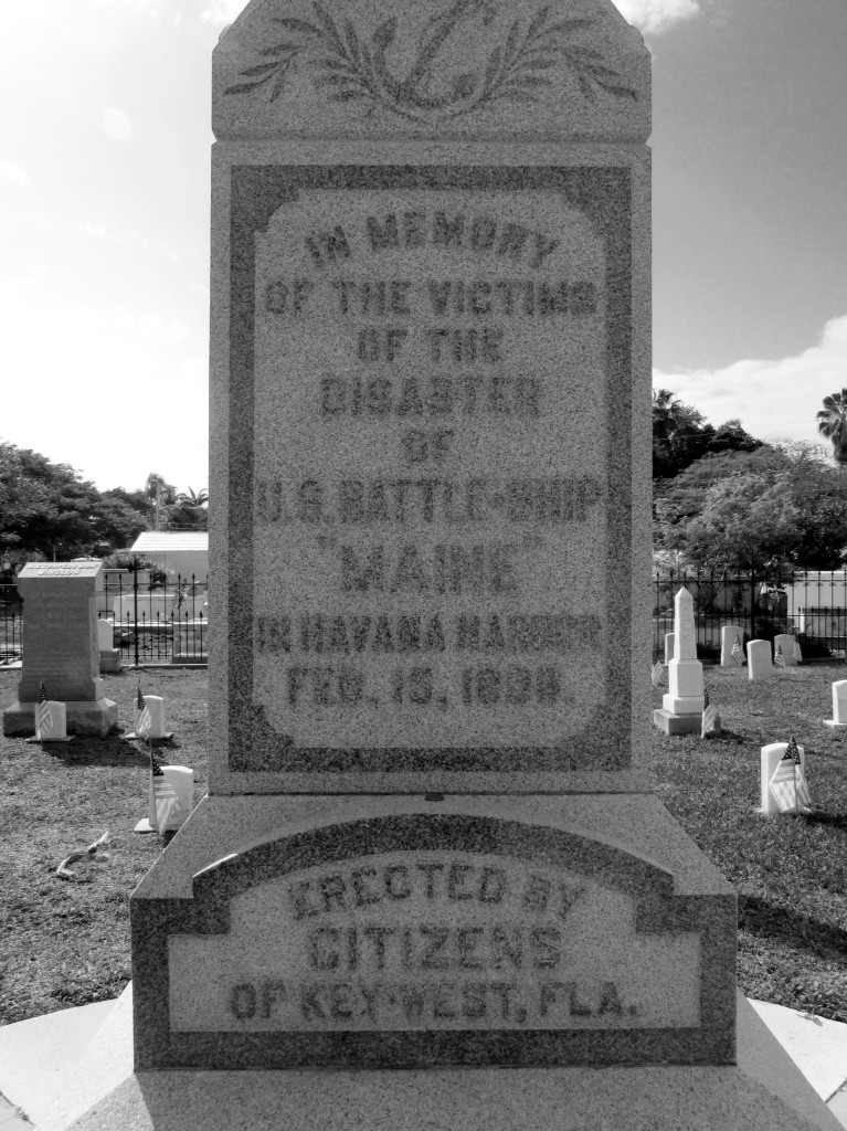 The base of the Maine memorial in Key West Cemetery Photo credit: M. Ciavardini