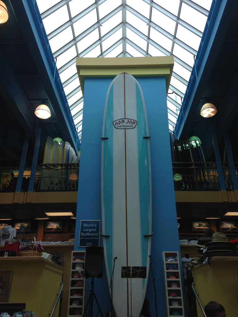 The world's longest surfboard at Ron Jon Surf Shop on Long Beach Island, N.J. Photo credit: M. Ciavardini