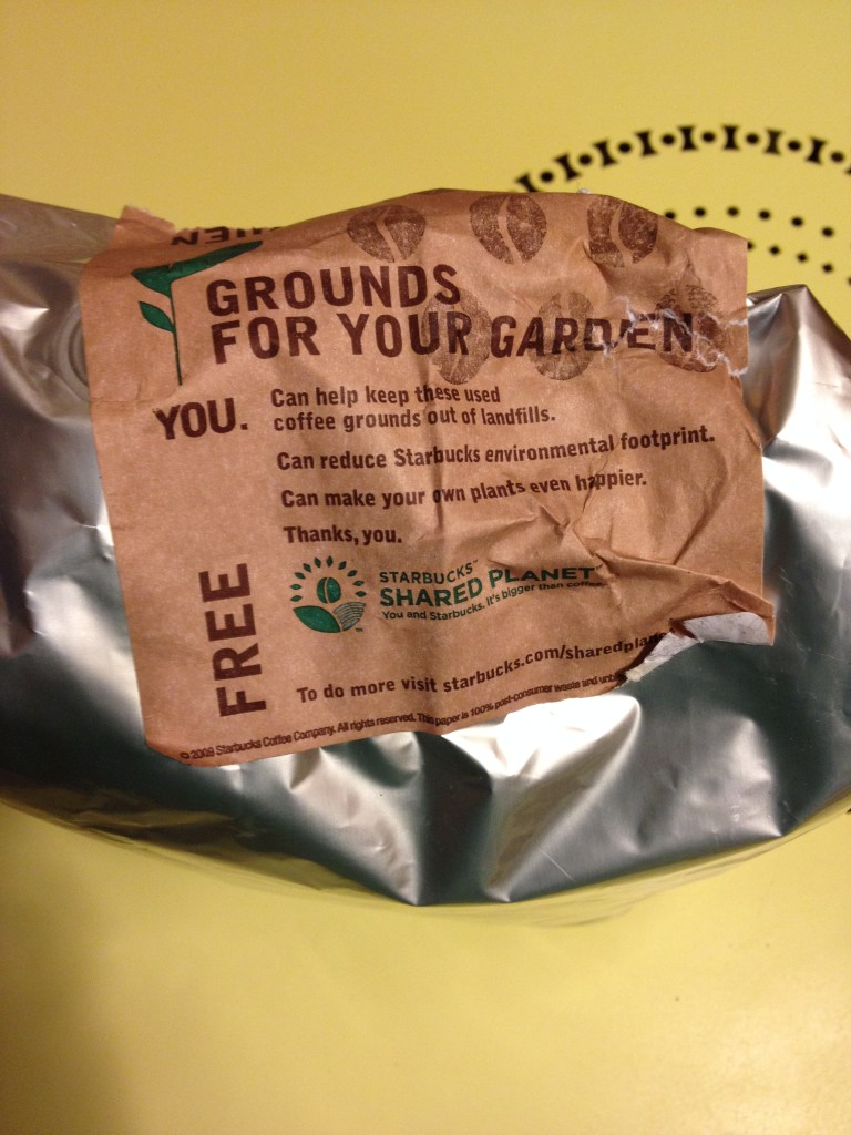 Free used coffee grounds from Starbucks for use in gardens or for compost Photo credit: L. Tripoli