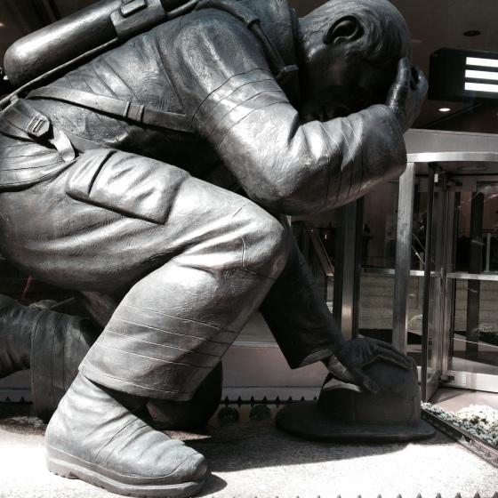 Kneeling Fireman Manhattan NYC