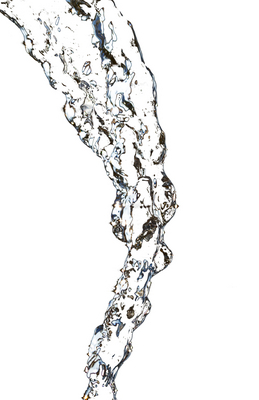 stream of water on a white background