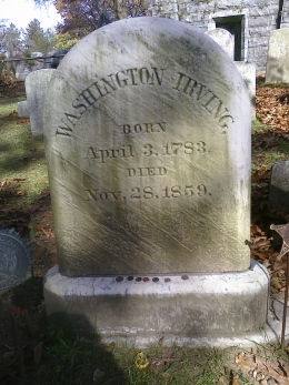 Washington Irving's gravestone in Sleepy Hollow (Tarrytown), N.Y. Photo credit: M. Ciavardini