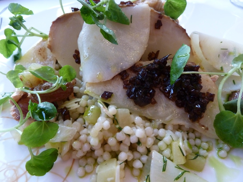 Celeriac, cous-cous artfully presented at Lava restaurant at the Blue Lagoon, Iceland. Photo credit: M. Ciavardini