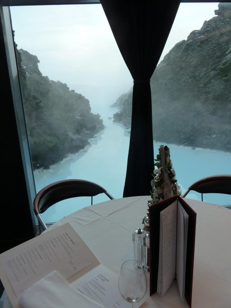 Lava restaurant at the Blue Lagoon overlooks the spa pools. Photo credit: M. Ciavardini