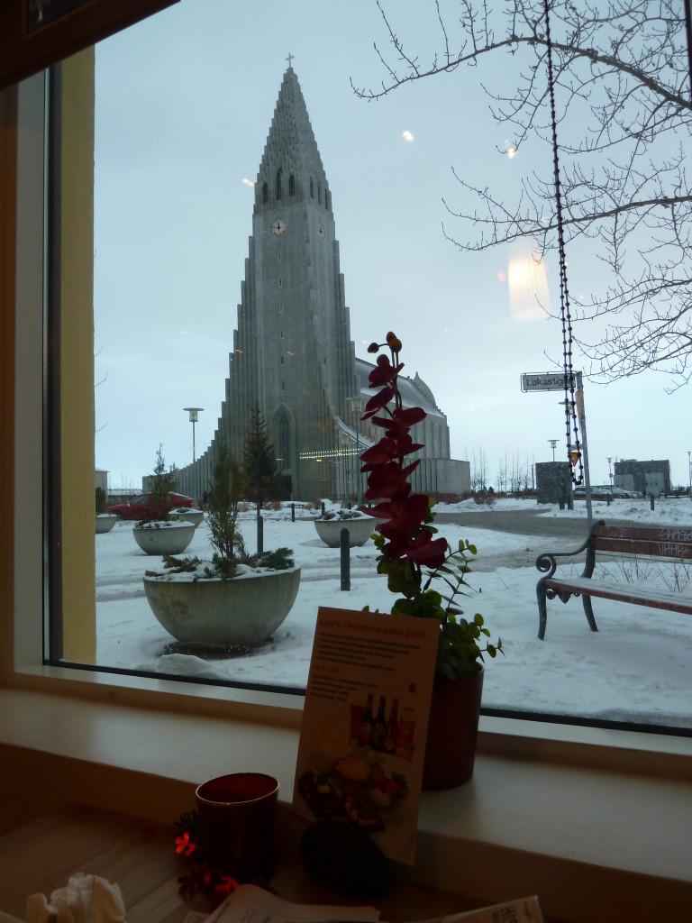 View of Hallgrimskirkja from Café Loki in Reykjavik Photo credit: M. Ciavardini