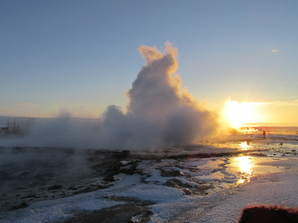 Lesson #1 when geyser watching: Don't stand downwind.  Photo credit: M. Ciavardini