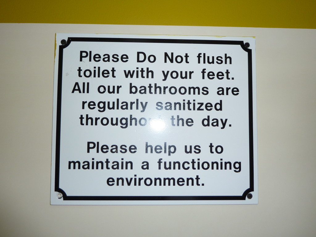 When in doubt, look up—you might be surprised at what you see. Here, a warning at the Belize City airport not to flush inappropriately. Photo credit: M. Ciavardini