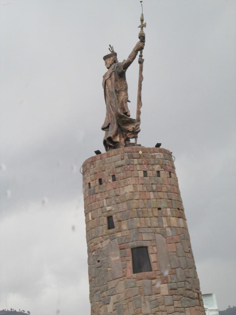 Statue of an Incan leader in Cusco, Peru