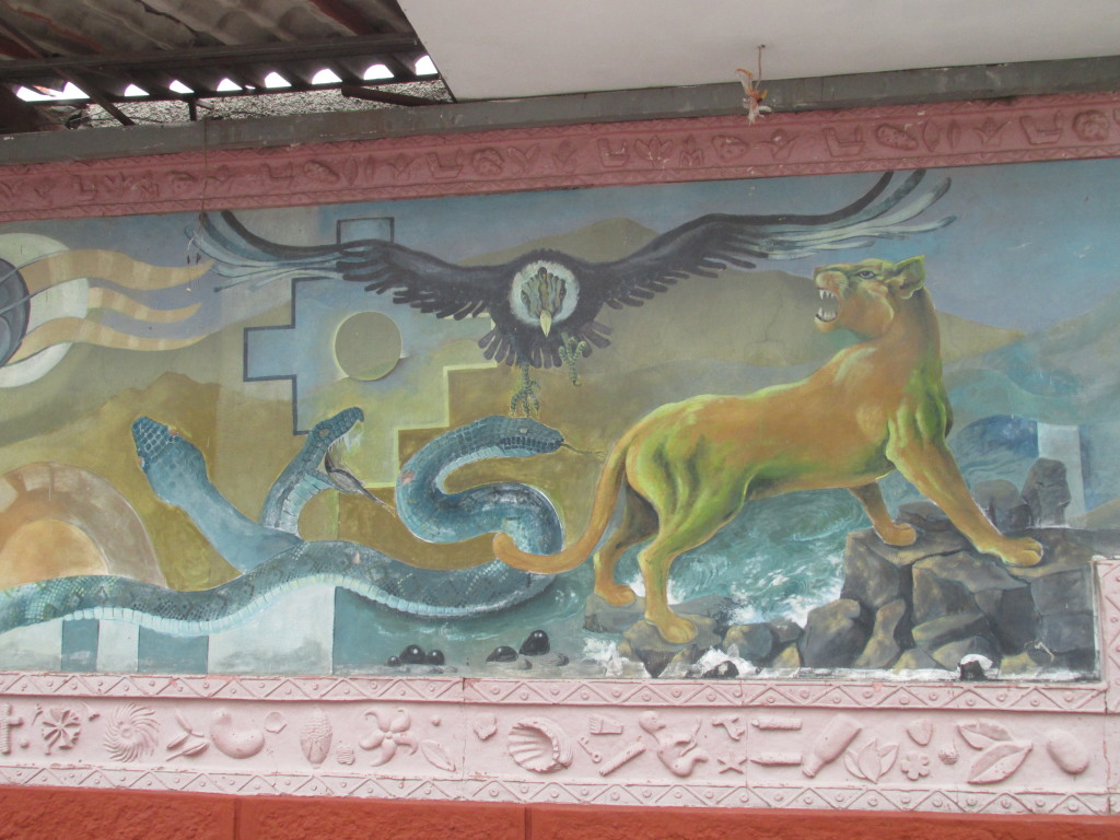 A mural of the Incan trinity (condor, puma, snake) at a cemetery in Cusco, Peru. Photo credit: M. Ciavardini