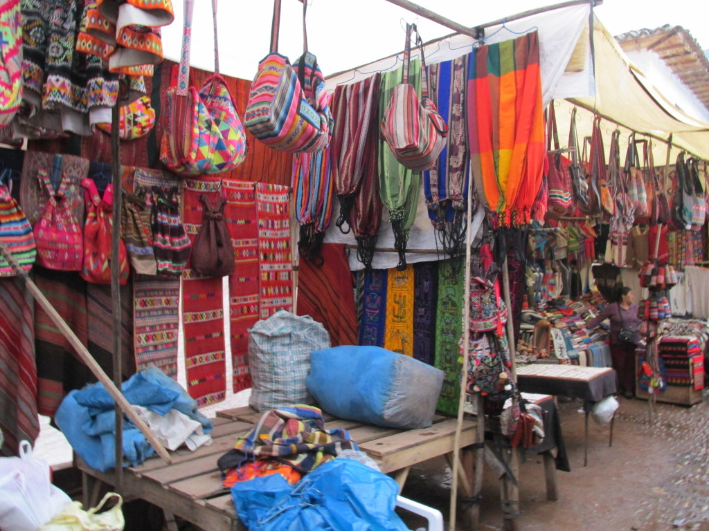 Textiles for sale in Pisac, Peru Photo credit: M. Ciavardini