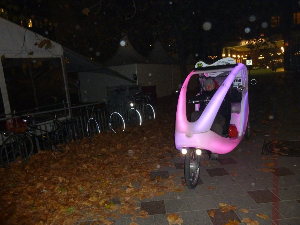 A colorful vehicle for hire in Hamburg, Germany. Photo credit: M. Ciavardini
