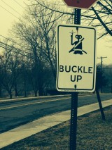 Buckle up sign with ET