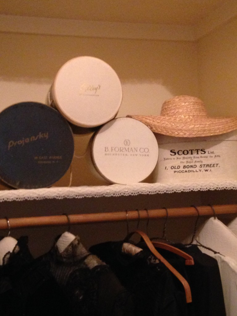 Hat boxes on display in a closet at the George Eastman House in Rochester, N.Y. Photo credit: M. Ciavardini