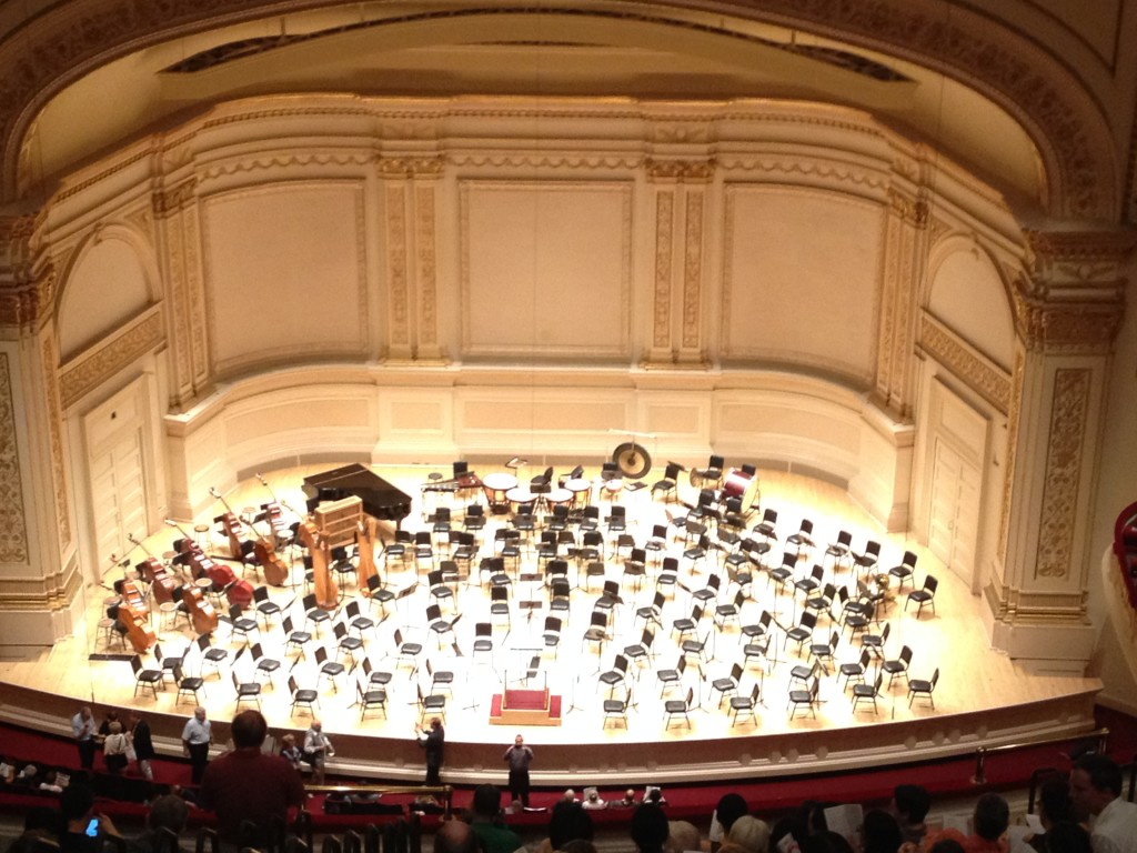 Moments before the St. Petersburg Philharmonic Orchestra enters the stage at Carnegie Hall on Russia Day. Photo credit: A. Ciavardini