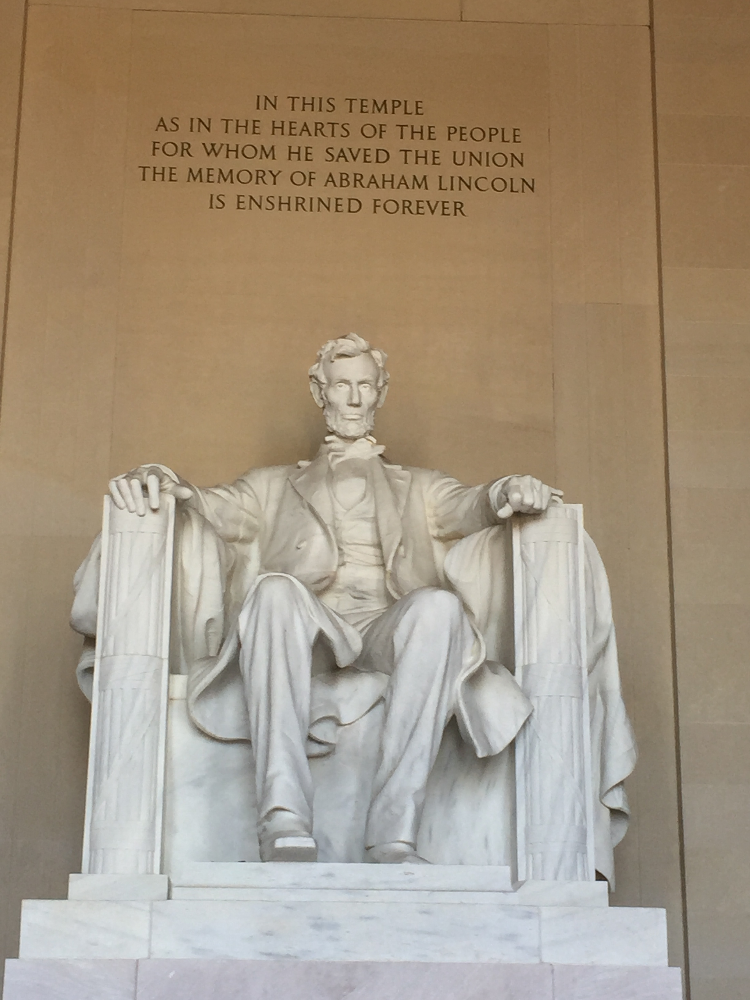 Visitors to the Lincoln Memorial are reminded they are in a temple. Photo credit: M. Ciavardini
