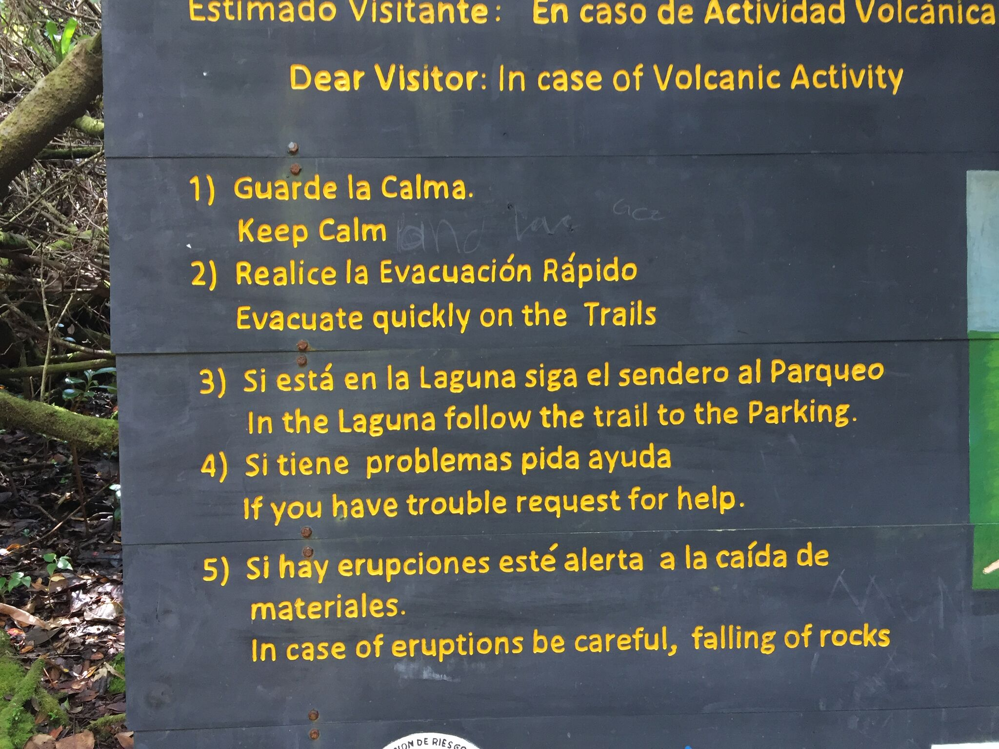 If you can read this message, you are too close? Hints for maintaining one's composure during a volcano eruption, courtesy of Poas Volcano National Park in Costa Rica. Photo credit: M. Ciavardini