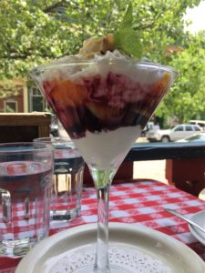 Peach melba at Brasserie Le Bouchon in Cold Spring, N.Y. Photo credit: M. Ciavardini