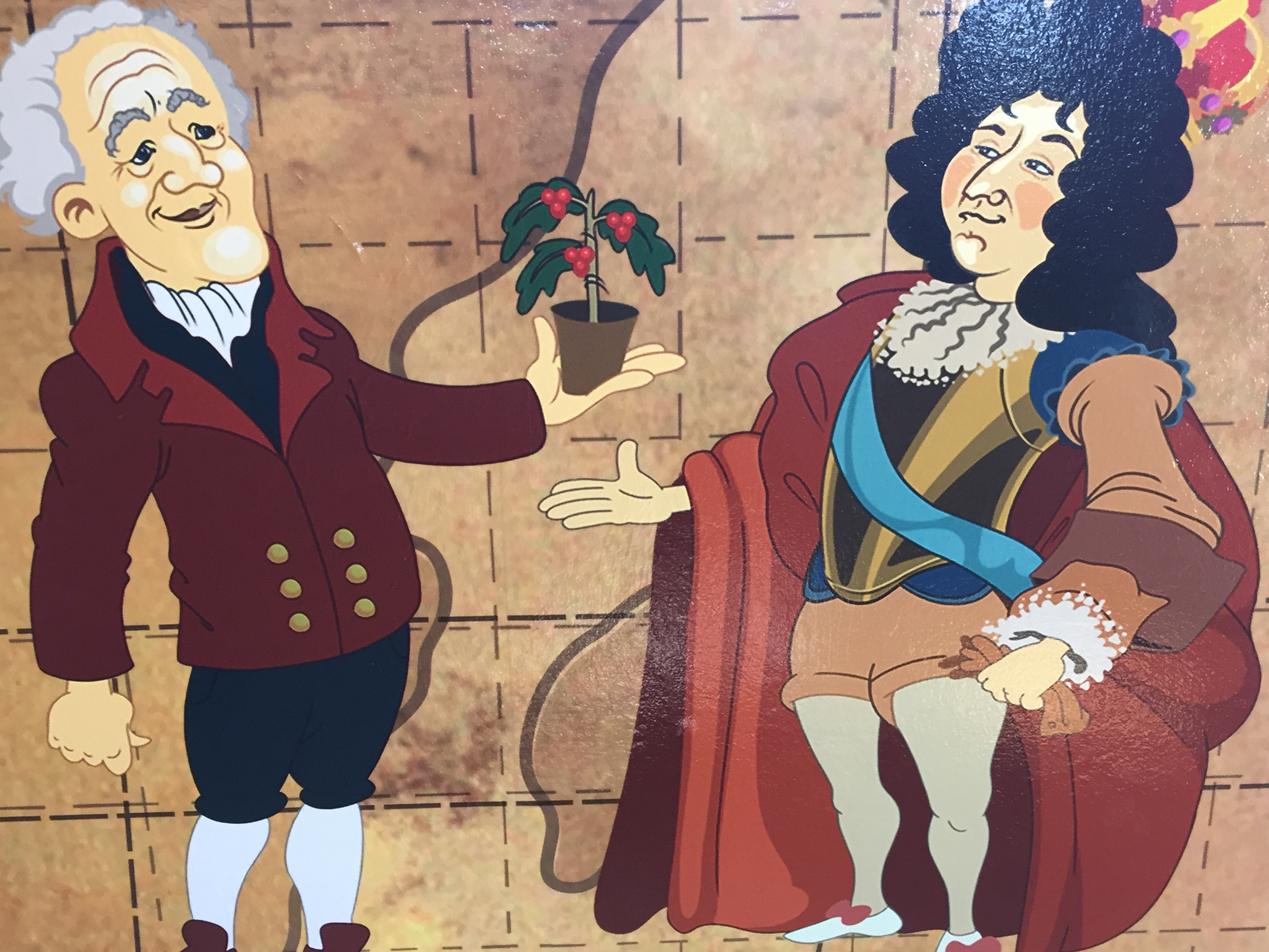 A mural at Doka Estate in Costa Rica depicts the gift of a coffee plant from the Mayor of Amsterdam to Louis XIV of France. Photo credit: M. Ciavardini