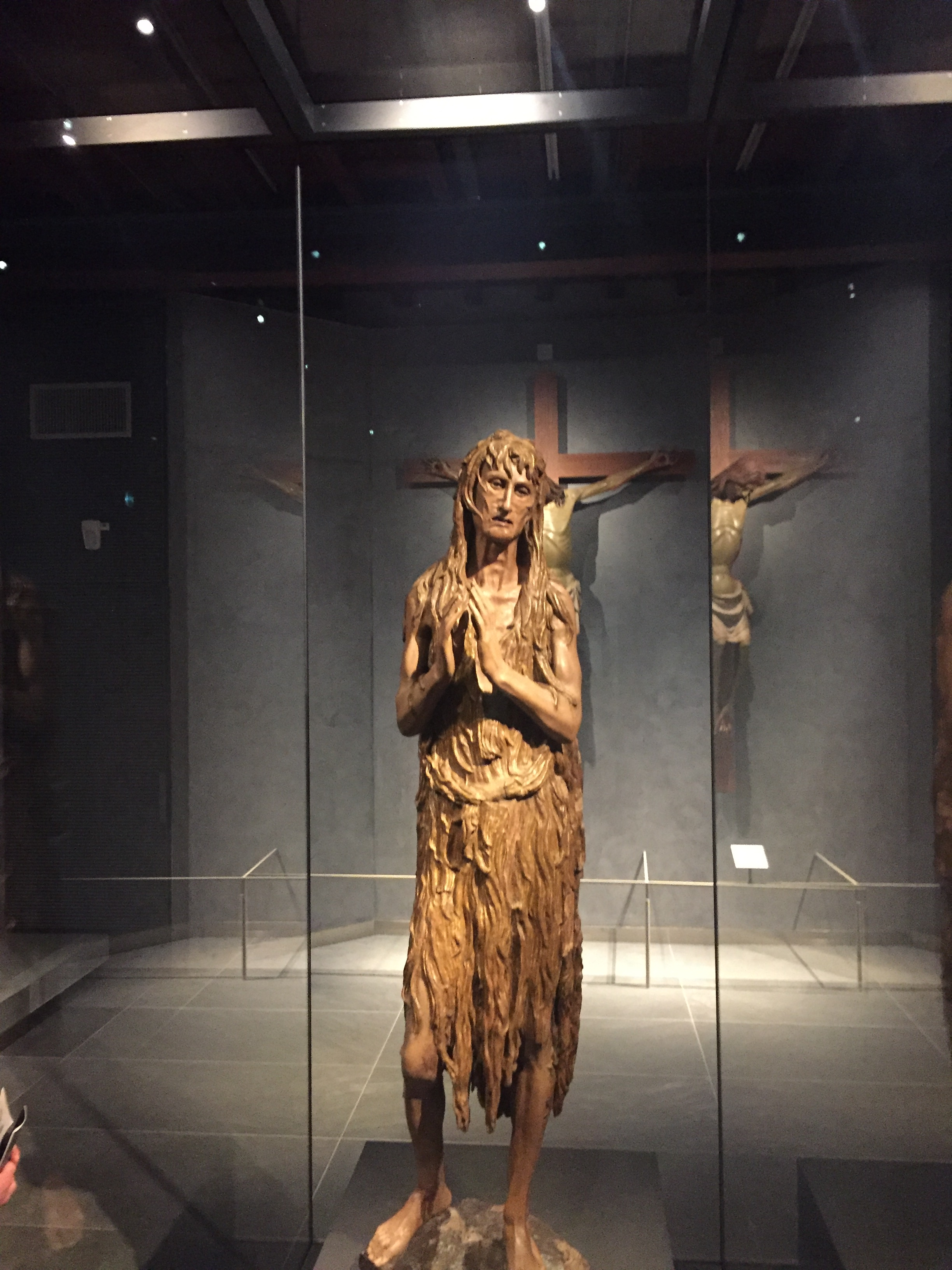 A wood sculpture from 1455 by Donatello known as the Penitent Mary Magdalen is displayed at the Opera Duomo Museum in Florence. Photo credit: M. Ciavardini