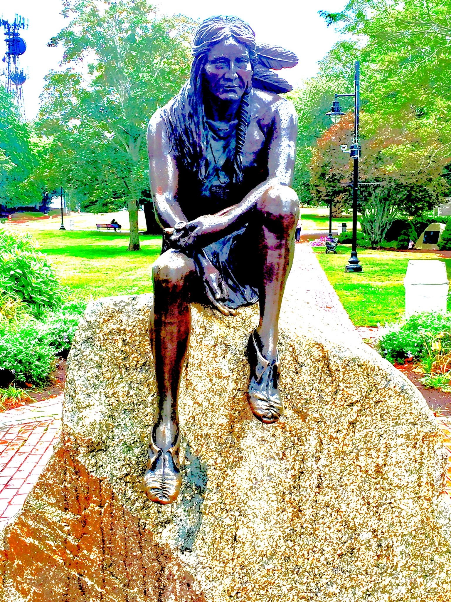 A statue of the sachem Iyanough, for whom Hyannis, Mass. is named. Iyanough helped arrange the return of 16-year-old John Billington, who got lost in 1621 and was taken custody by indigenous people. Iyanough died in 1621 while still in his 20s. Photo credit: M. Ciavardini