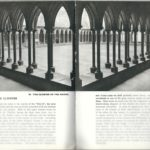 Vintage guidebook image of Mont Saint-Michel cloister