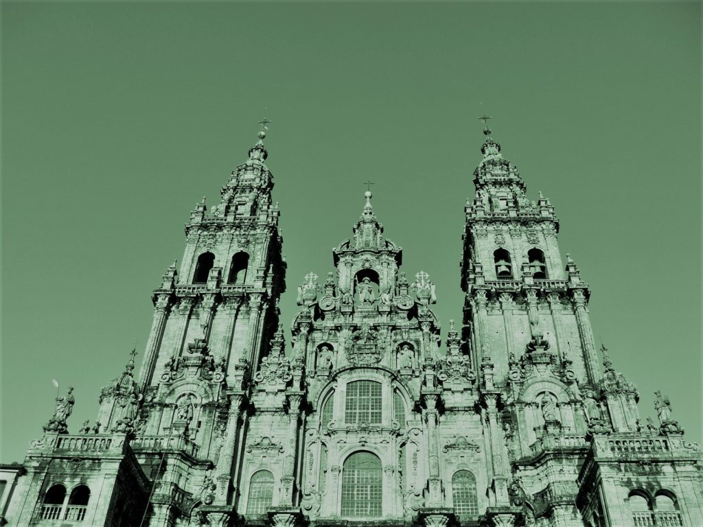 The goal of pilgrims walking the path of Saint James is the Cathedral of Santiago de Compostela in Galicia, Spain.