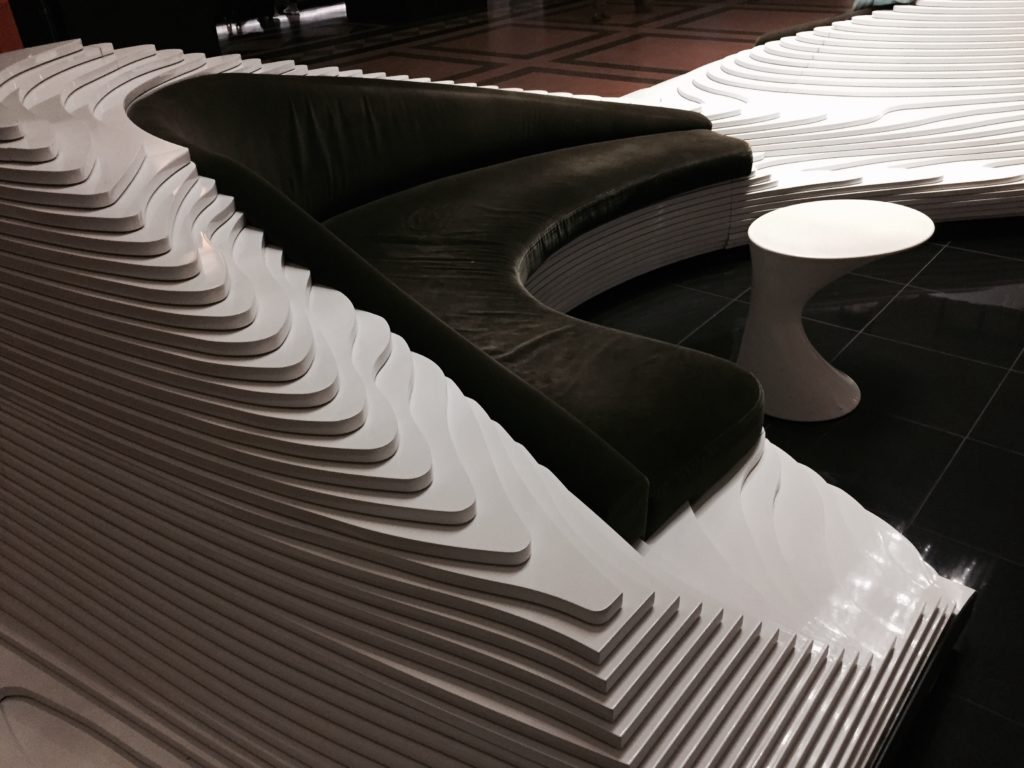 A couch with style in the lobby of the Stewart Hotel in New York City. Photo credit: M. Ciavardini