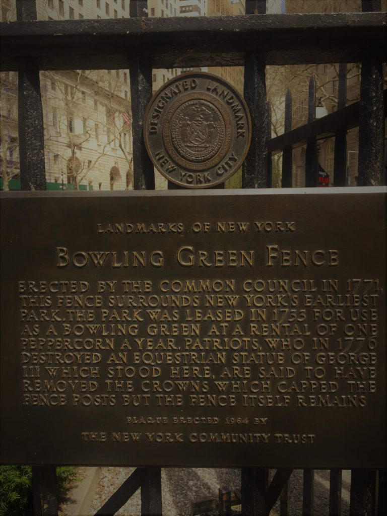The Bowling Green fence has enclosed the park since 1771. Photo credit: L. Tripoli