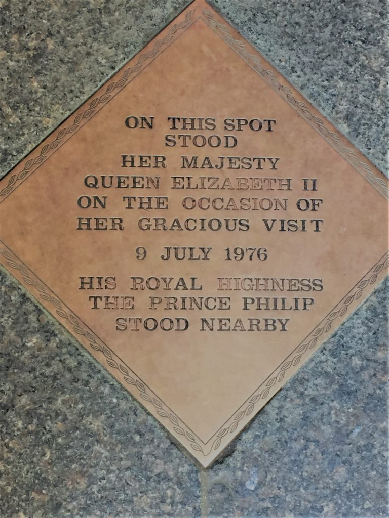 A plaque at Trinity Church commemorates Prince Philip's more active duties. Photo credit: L. Tripoli