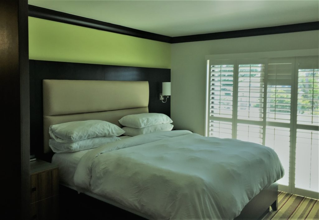 A soothingly comfortable guest room at the Hotel Azura in Santa Rosa, Calif. Photo credit: M. Ciavardini