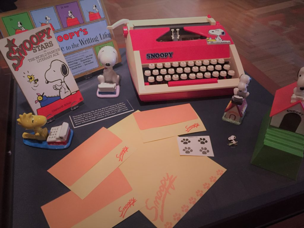A Snoopy typewriter and other gear on display at the Charles M. Schulz Museum in Santa Rosa, Calif. Photo credit: M. Ciavardini
