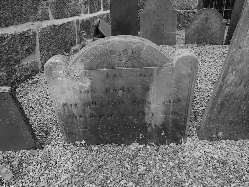 A headstone at Saint Peter's Episcopal Church in Salem, Mass. Photo credit: M. Ciavardini