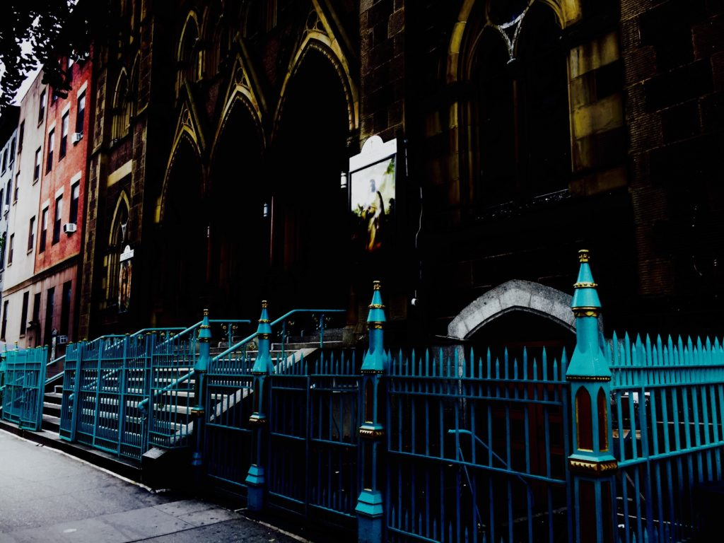 The colorful fence at Our Lady of Guadalupe at Saint Bernard Church on West 14 Street in New York City beckons visitors. Photo credit: M. Ciavardini