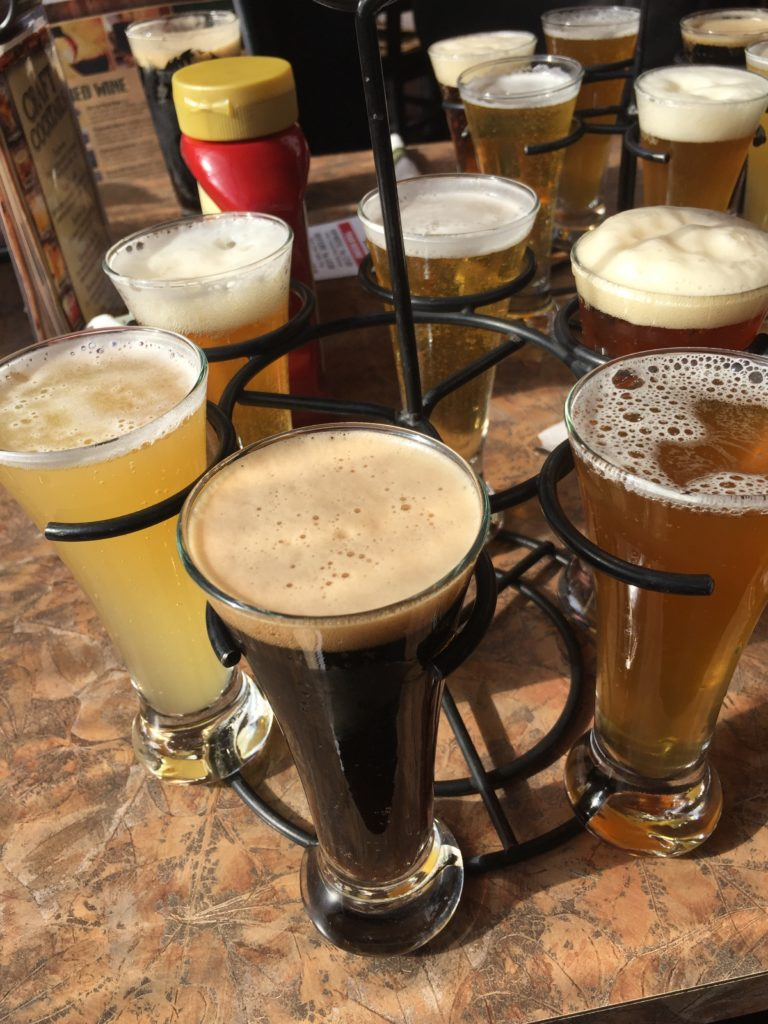 Need a break after rail biking? Consider a visit to Adirondack Brewery in nearby Lake George. Here, a beer sampler. Photo credit: M. Ciavardini.
