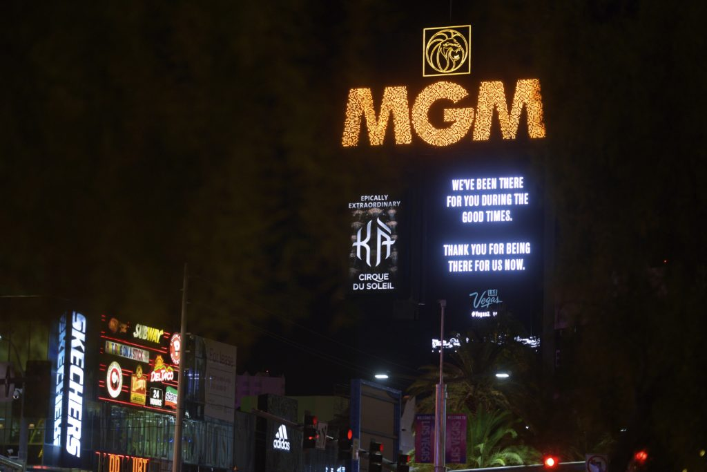 "The iconic marquees of the Las Vegas Strip and throughout the Las Vegas Valley are displaying a message of strength, unity, and gratitude in support of the destination. The digital signs on hotels and attractions included an image of the Las Vegas Strip and the words, ""We've been there for you during the good times. Thank you for being there for us now. #VegasStrong."" The tribute started Tuesday, Oct. 3 at 6:30 p.m. and was scheduled to run for the next 24 hours. Photo credit: Sam Morris/Las Vegas News Bureau"
