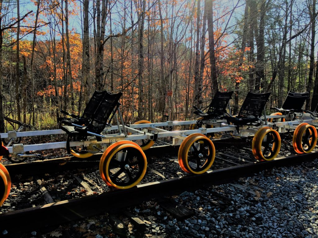 Rail biking in the Adirondacks: Two- and four-seat rail bikes are available. Seats can be adjusted to accommodate leg length. Photo credit: M. Ciavardini.