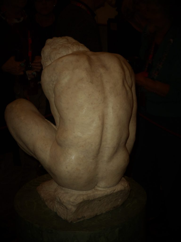 Some consider Michelangelo's Crouching Boy, originally intended for the Medici Chapel in the Basilica of San Lorenzo in Florence, to be an unfinished work. Indeed, he does not have the chiseled smoothness of David, created 30 years prior. Photo credit: M. Ciavardini.