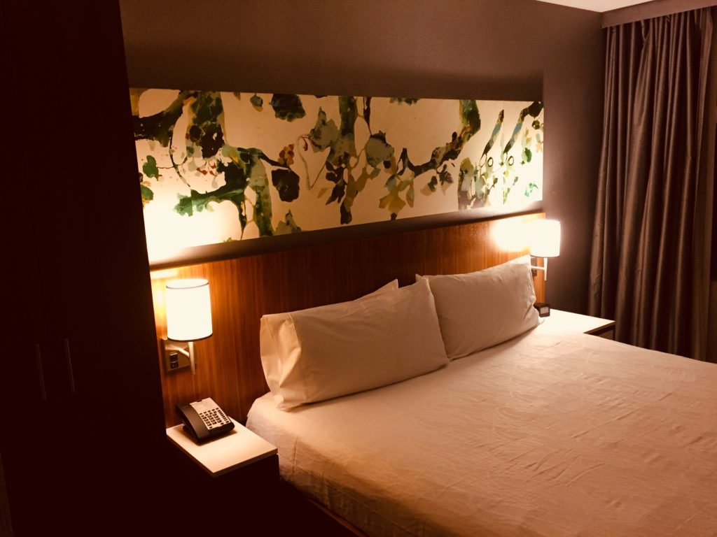 A guest room at the Hilton Garden Inn Central Park South in New York City is convenient, comfortable, and clean. Photo credit: M. Ciavardini.